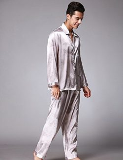 63336b47c7 Jepaja Men s Stylish Comfort Silk Long Sleeve Pajama Pj Set