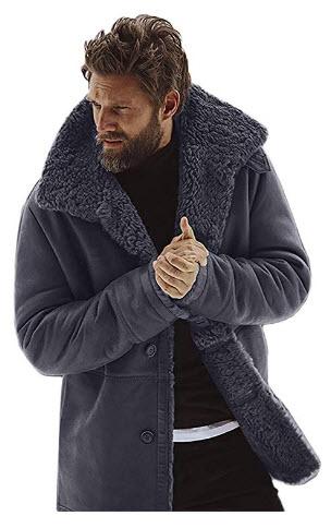 jin&Co Fleece Jacket for Men Winter Wool Lined Warm Coat Fashion Indoor Outdoor Parka Coat