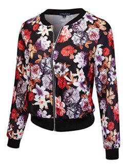 JJ Perfection Women's Lightweight Zip-Up Bomber Jacket w/Pockets