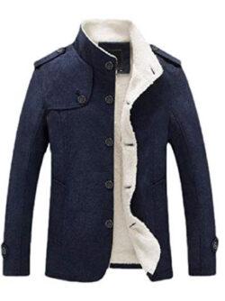 Jmwss QD Mens Windproof Buttons Wool Winter Classic Outwear Pea Coats