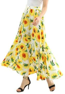 JOAUR Women Full/Ankle Length Floral Print Maxi Chiffon Long Skirt Beach Skirt, white