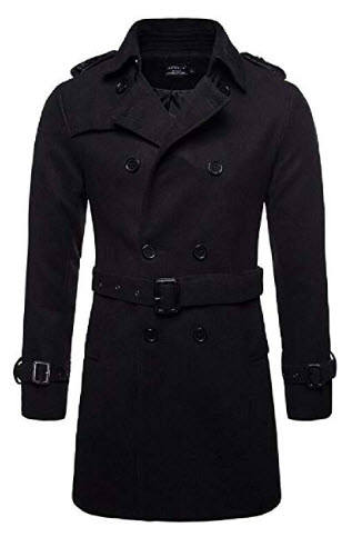 Jotebriyo Mens Trenchcoat Overcoat Wool Lapel Winter Double-Breasted Pea Coat 3 US L
