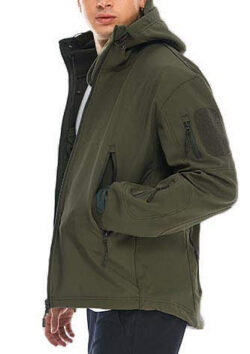 JUCFHY Men's Lightweight Windbreaker with Hood Waterproof Tactical Jackets for Hiking Clim ...