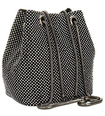 JUER Women's Evening Bags Crystal Rhinestone Clutches Shoulder Mini Bucket Bag Cross-body Purses ...