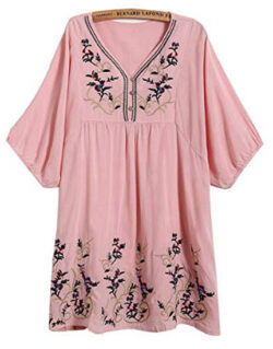 Kafeimali Women's T-shirt Tunic Dresses Mexican Embroidered Peasant Tops Blouses, pink