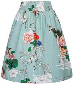 Kate Kasin Women's Vintage Retro Floral Print Elastic Waist A-Line Skirt, floral 2