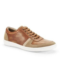 Kenneth Cole Mens Yell Out Leather Sneaker, Cognac-7 M