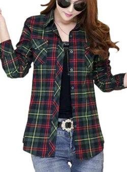 KLJR Women Plaid Slim Cotton Casual Button Down Long Sleeve Shirt Blouse Top