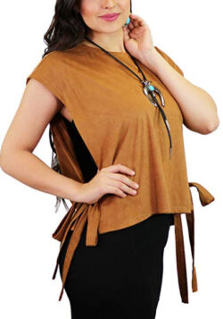 L&B Women's Suede Sleeveless Side tie Shirt