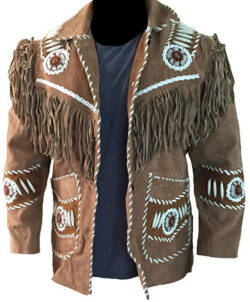 LEATHERAY Men's Fashion Western Cowboy Fringed & Bones Jacket Suede Leather Brown
