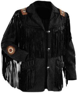 LEATHERAY Men's Fashion Western Fringe & Beaded Jacket Suede Leather Black