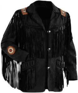 LEATHERAY Men's Fashion Western Fringe & Beaded Jacket Suede Leather Black