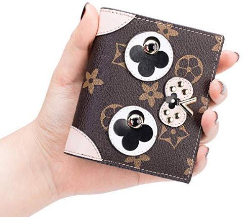 90218e0c256f LeDuruo Women Small Folding Wallet Cowhide Leather Purse Credit Ca ...