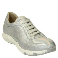LEONARDO SHOES Women's ER01SILVER Silver Leather Sneakers
