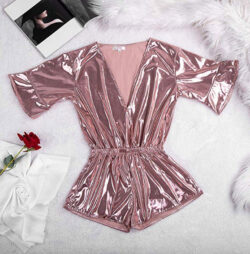 LICKLIP Shiny Metallic Pajama Romper Buttoned Wrap Bell Sleeve Short Jumpsuit Women One Piece Pa ...