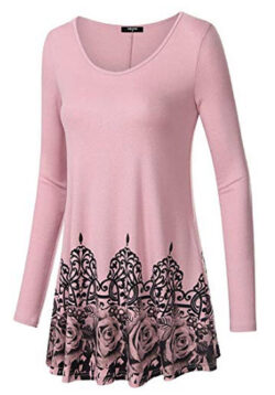 Lotusmile Womens Long Sleeve Scoop Neck Casual Tunic Vintage Floral Bottom Pleated Shirts, 32 pink
