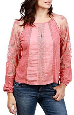 9a62217ce231ac Lucky Brand Women's Large Lace Illusion Knit Top, ...