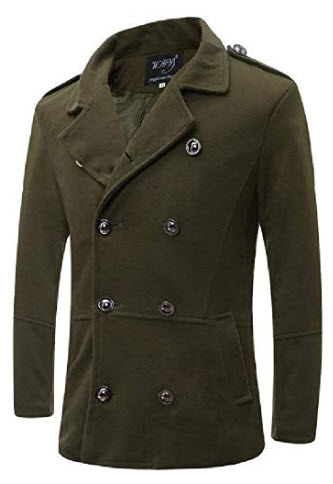 Lutratocro Mens Winter Lapel Neck Double-Breasted Wool Blend Coat Jacket with Pocket