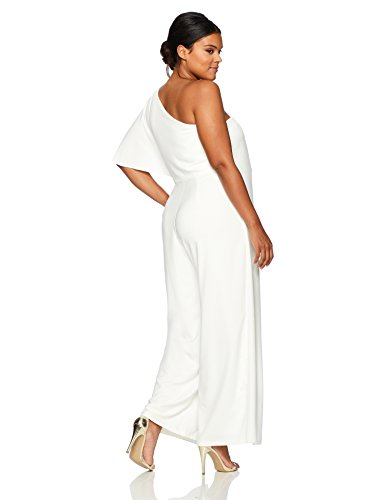 930c306caafcb Marina Women s Plus Size One Shoulder Jumpsuit with Cascade Ruffle Detailing