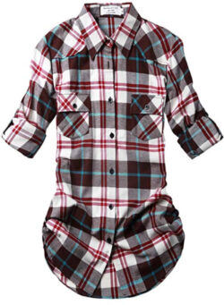 Match Women's Long Sleeve Flannel Plaid Shirt, checks 17