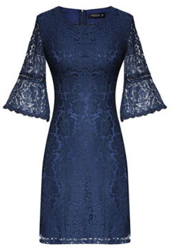 Mavis Laven Womens 3/4 Bell Sleeve Above Knee Crew Neck Crochet Lace Sheath Dress navy blue