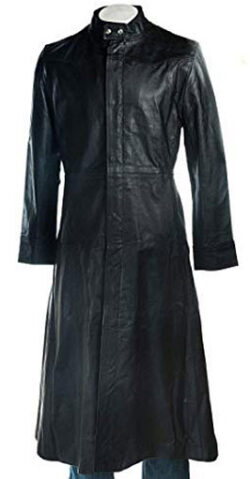 Aidas Collections Mens Black Gothic Dark Steampunk Neo Matrix Long Leather Trench Coat Jacket, s ...