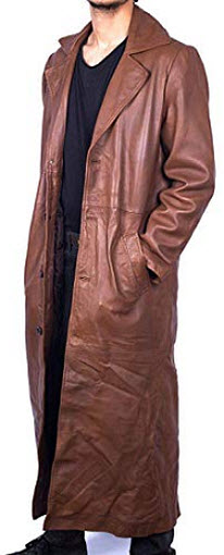 Wonder Fashions Brown Winter Long Real Leather Trench Coat
