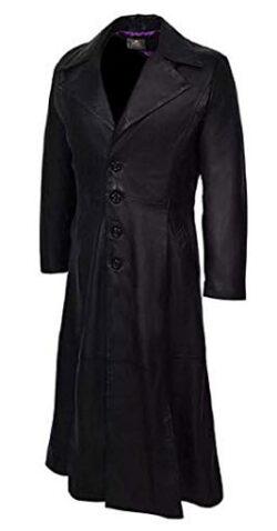 Asam Market Men's Classic Dracula Long Length Halloween Black Real Leather Trench Coat