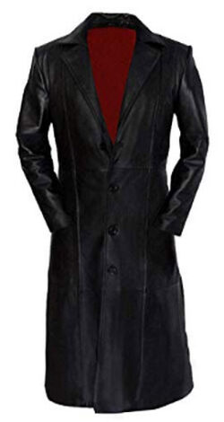 Ammar T-Fashion Men's Snipes Blade Trinity Genuine Sheepskin Leather Black Trench Coat