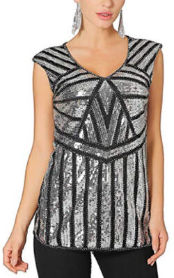 fca7255deb2db2 Metme Women V Neck Slight Loose Flashy Sequin Sparkly Vest Tops Tank Tops,  black &
