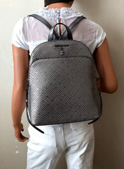Michael Kors Adele Large Leather Backpack in Dark Silver