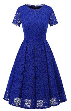 MisShow Women's Vintage Bridesmaid Dress Floral Lace Cocktail Formal Swing Dress, royal blue