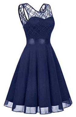 MKbridal Women's Short Floral Lace Bridesmaid Dress A-line Swing Party Dress with Belt, na ...