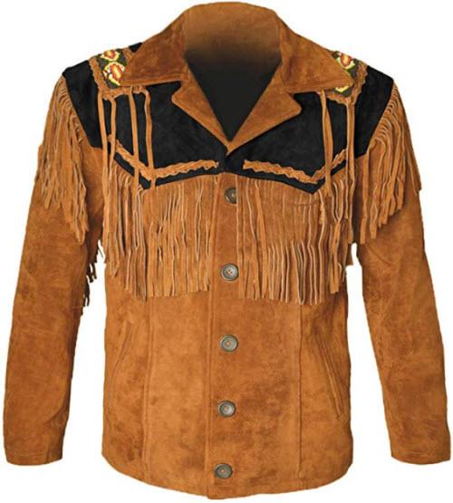 MSHC Western Cowboy Men's Brown Fringed Suede Leather Jacket D1 XXS-5XL