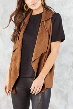Mud Pie Woman's Demi Suede Vest Tan