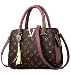 NICHOLAS-M Women's Fashion PU Leather V Handbags Tote Shoulder Purse Top-Handle Crossbody Bag