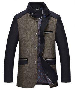 Nidicus Men Winter Warm Thicken Tweed Single Breasted Wool Blend Pea Coat.