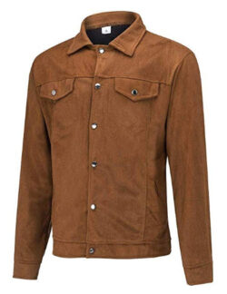 Suede Leather Military Jacket Men NRUTUP Slim Fit Winter Jacket Button Down Shirt Jacket Busines ...