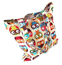 Nuni Womens Cute Owl Print Cotton Canvas Tote Bag colorful owl