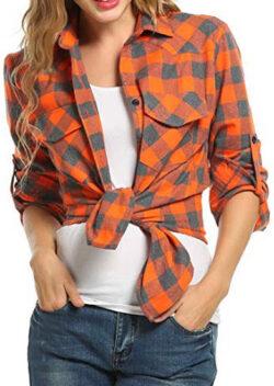 Oyamiki Womens Casual Cuffed Long Sleeve Boyfriend Button Down Plaid Flannel Shirt Top, orange