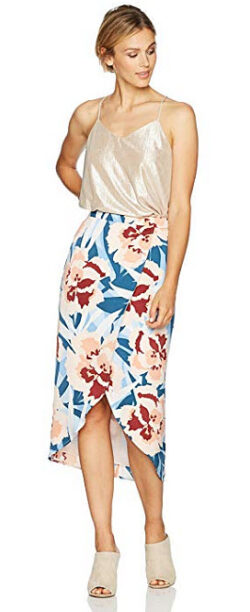 8120ce0cc1 PARIS SUNDAY Women's Faux Wrap Satin Tulip Hem Midi Skirt, multi floral
