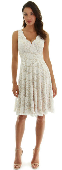 PattyBoutik Women Floral Lace Overlay Fit and Flare Dress