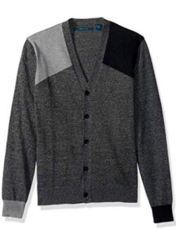 Perry Ellis Men's Colorblock Cardigan Sweater, black heather