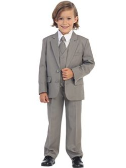 5-Piece Boy's 2-Button Suit Tuxedo 5 Colors: Black White Ivory Khaki Light Gray