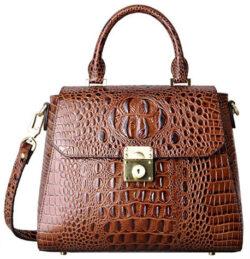 PIFUREN Crocodile Bags Designer Leather Satchel Handbags Top Handle Shoulder Purse, brown