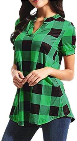 Xmnds Plaid Tops for Women, Casual T-Shirt Printed Blouse Short Sleeve V-Neck Irregular Hem Shirt