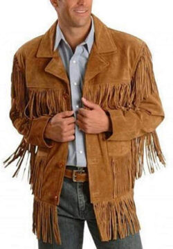 QMUK Western Fringe Suede Leather Jacket