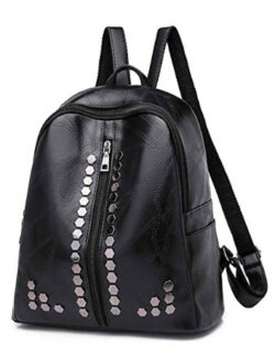 Qyoubi Women's Black Fashion Leather Backpack Purse Casual Shopping Daypacks Small Waterproof Tr ...