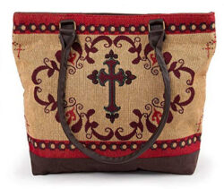 RaaKha Womens Woven Fashion Shoulder Tote Bag western cross