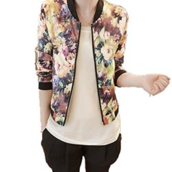 Roberoody Nice Women Stand Collar Long Sleeve Zipper Floral Printed Bomber Jacket